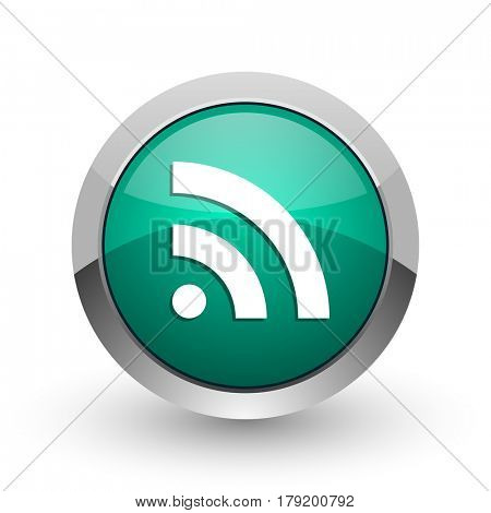 Rss silver metallic chrome web design green round internet icon with shadow on white background.