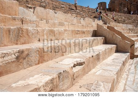 Ruins of the amphitheater of the Coliseum in Tunisia closeup