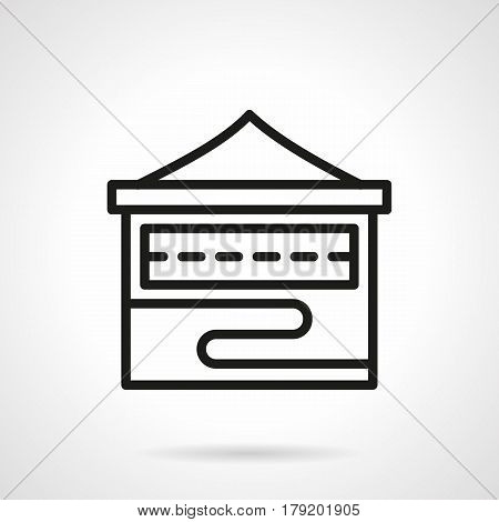 Abstract symbol of folding stall or mobile marketplace. Structures for trade, exhibition, promotion and other commercial events. Black simple line design vector icon.