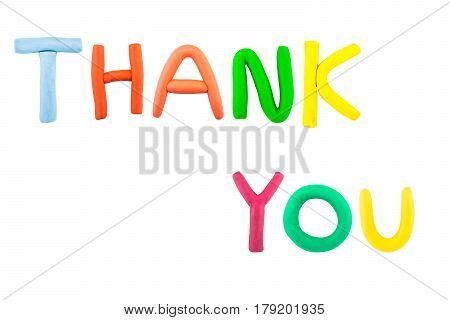 thank you , on white background ,clay