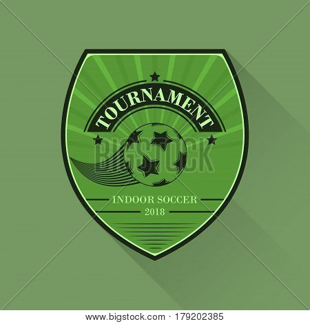 Soccer Logo. Football Logotype In Flat Design. Sport Vector Illustration. Indoor Soccer Cup.