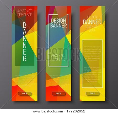 Design Vertical Banners With Polygonal Multi-colored Background