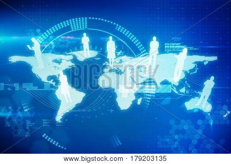International community against digital generated image of blue dial 3d