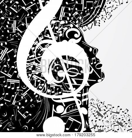 Abstract female profile composed of musical signs, notes. Musical poster with DJ, soul of music, cover for CD.