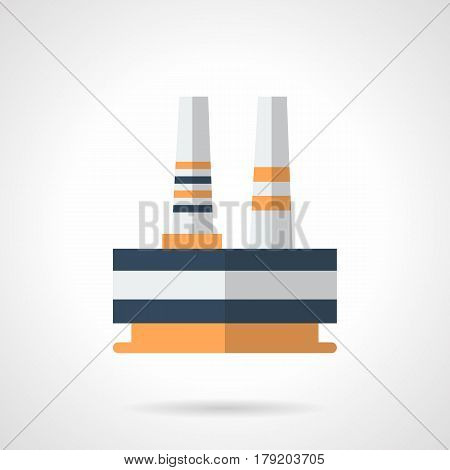 Abstract symbol of metalworking plant. Architecture and buildings of metallurgical industry. Flat color style vector icon.