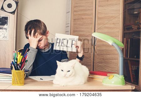 Sad and tired pre teen schoolboy sitting in stress working doing homework asking for help with cat on his desk