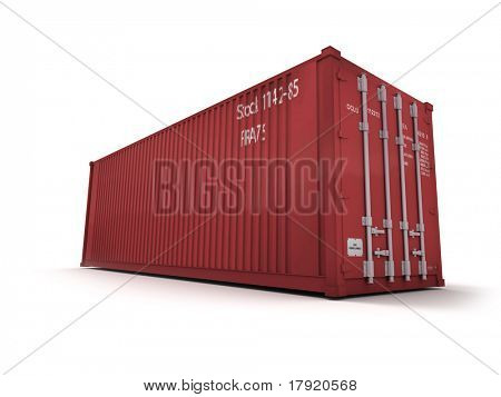 Red cargo container against a white background