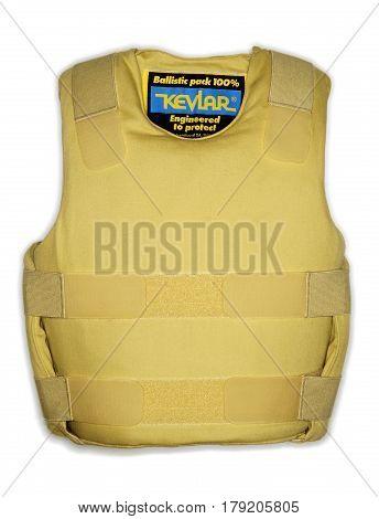 Bulletproof vest or bullet-resistant vest , kevlar