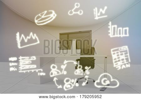 Digitally generated image of computer icons against office furniture in white room