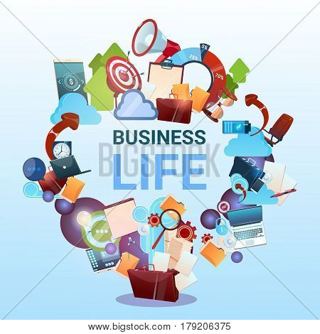 Open Briefcase Marketing Teamwork Document And Target Business Life Concept Flat Vector Illustration