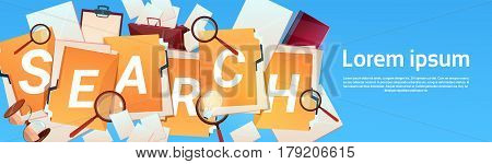 Paper Document Search Magnifying Glass Paperwork Business Concept Flat Vector Illustration