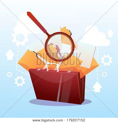Open Briefcase Paper Document Search Magnifying Glass Paperwork Business Concept Flat Vector Illustration