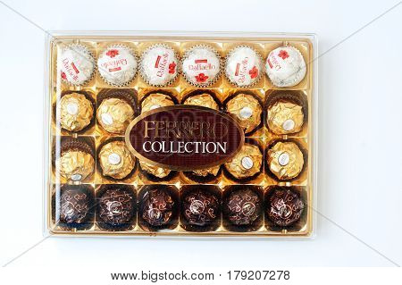 Hai, Ukraine -14 March 2017: Ferrero Rocher Collection Premium Chocolate Sweets Plastic Box, Produce