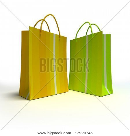 A pair of striped shopping bags in green and yellow