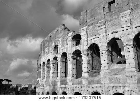 Coliseum monumental arcade with clouds (Black and White)