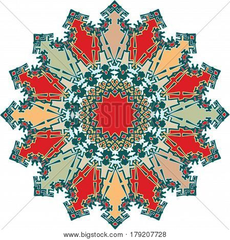 Artistic ornament with shades of green and red predominating