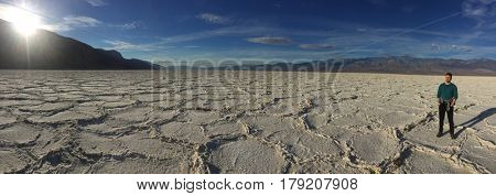 Man at Death Valley, Badwater Basin
