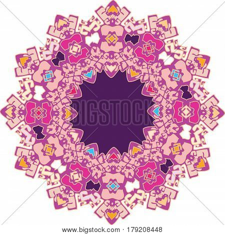 Richly colorized flat color ornament with magenta predominating