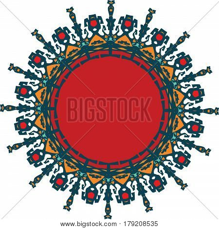 Ornament with red inset and complex fine forms
