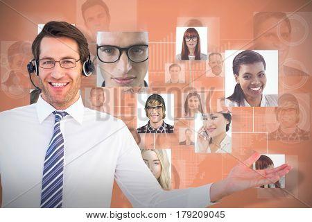 Call centre agent against orange background