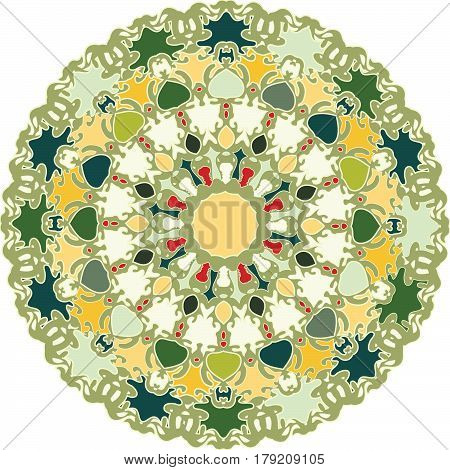 Ornament with predominating shades of green in flat color