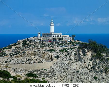 Lighthouse on the top point of Cape Formentor Majorca Spain