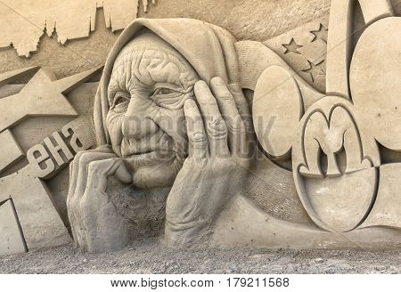 Jesolo Italy July 19 2016: sand sculptures exhibition in Jesolo (VE) ITALY.