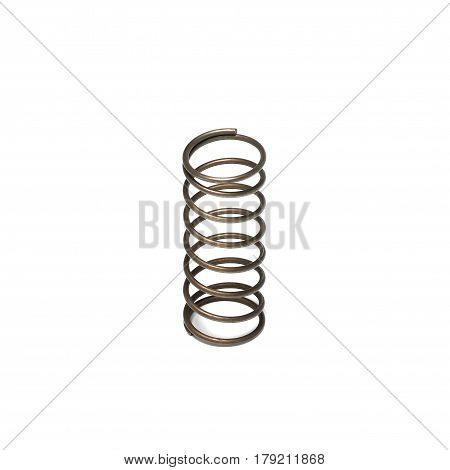 Metal spring isolated on white background, closep