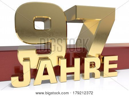 Golden digit ninety seven and the word of the year. Translated from the German - years.3D illustration