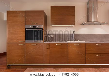 Interior of modern contemporary fully staffed kitchen