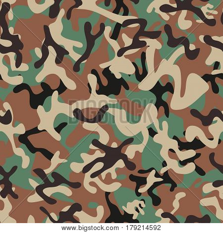 Syrian Woodland Camouflage seamless patterns. Vector Illustration.