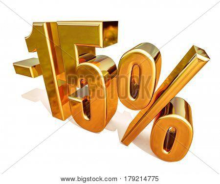 3d render: Gold -15%, Minus Fifteen Percent Discount Sign