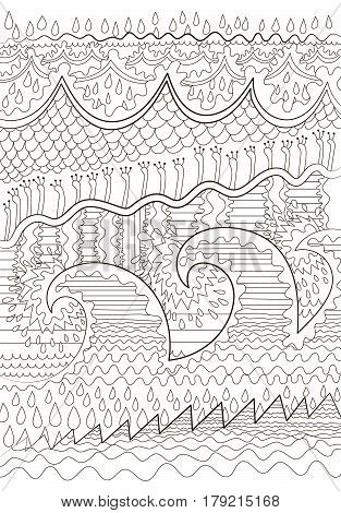 Sea background with high details. Adult antistress coloring page. Black white marine backdrop for art therapy. Abstract pattern with oceanic elements for relax coloring for grown ups. Vector