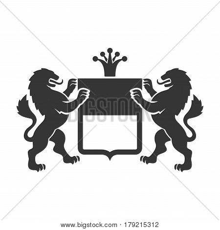 Coat of arms. Heraldic Lions with Shield and Crown. Vector illustration