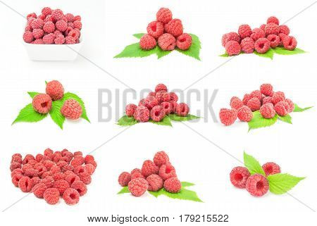 Group of sweet raspberry on a white background