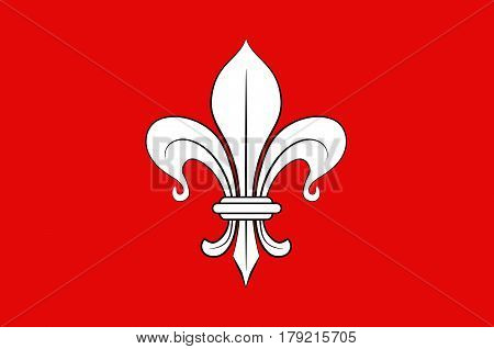 Flag of Lille it is the capital of the Hauts-de-France region and the prefecture of the Nord department in French Flanders. Vector illustration