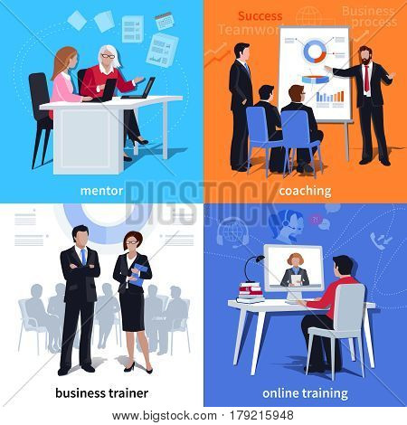 Flat compositions with mentor and student coaching business trainer and online learning isolated vector illustration