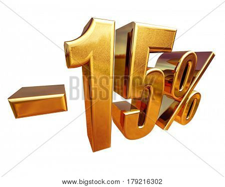 3d render: ISOLATED Gold -15%, Minus Fifteen Percent Discount Sign