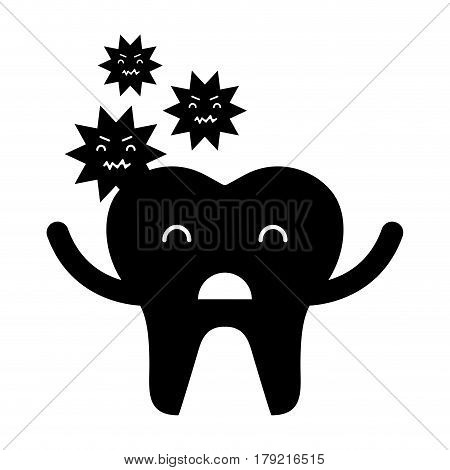 tooth with caries character icon vector illustration design