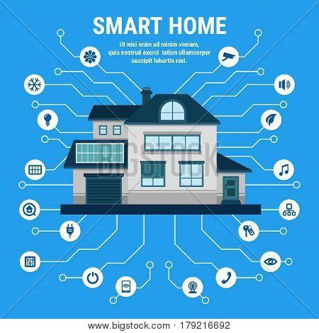 Smart home. Flat design style vector illustration concept of smart house technology.