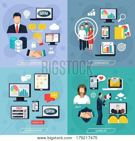 CRM flat design concept with supplier relationship management analysis care and satisfaction of customer isolated vector illustration