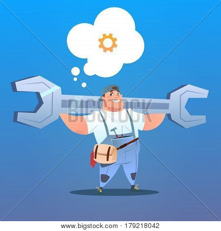 Workman Holding Big Wrench With Chat Bubble Labor Day Concept Flat Vector Illustration
