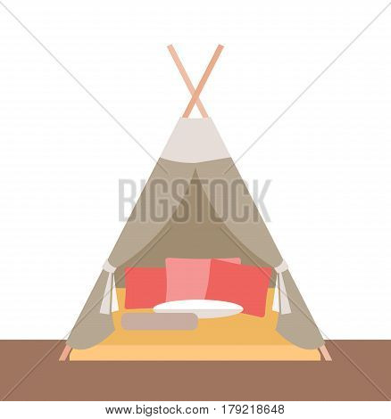 Vector illustration. Tent-hut for children's games.Element for graphic design. Flat style.