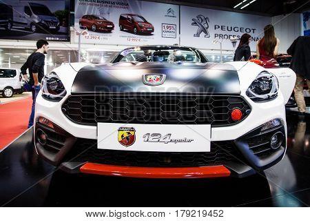 BELGRADE, SERBIA - MARCH 28, 2017 Belgrade Car Show Fiat 124 Spider Abarth