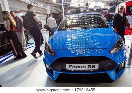 BELGRADE, SERBIA - MARCH 28, 2017 Belgrade Car Show Ford Focus RS