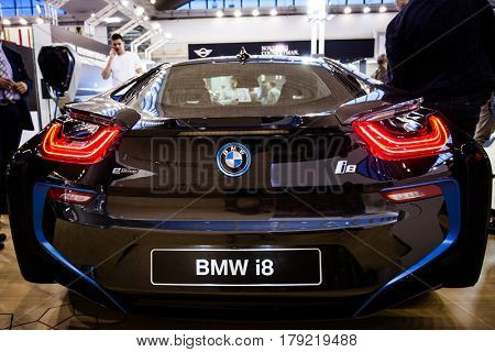 BELGRADE, SERBIA - MARCH 28, 2017 Belgrade Car Show BMW i8