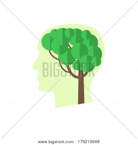 Tree brain concept. Stock vector illustration of human head silhouette with a plant inside. Think green.