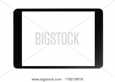 Black Touch Screen Tablet with white empty screen.