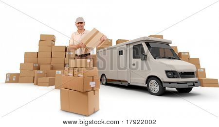 Messenger with a parcel in his hands with a van and piles of packages in the background (I made up the information on the labels so no copyright issue)