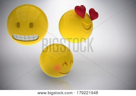 Three dimensional image of emoticons reactions against grey background 3d